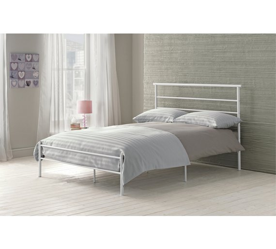 Buy home avalon single bed frame white at for Bedroom furniture argos