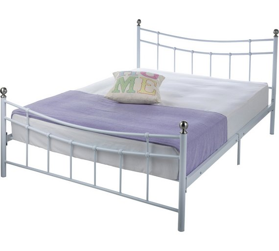 home darla double bed frame white - Double Bed Frame