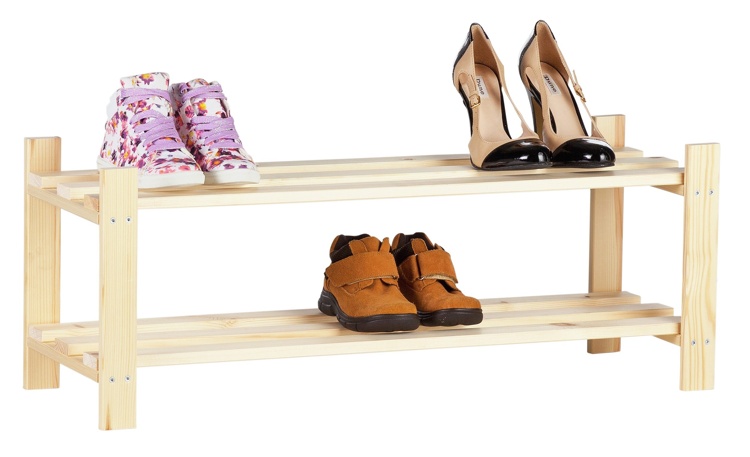 Argos Home 2 Tier Solid Pine Shoe Rack - Unfinished