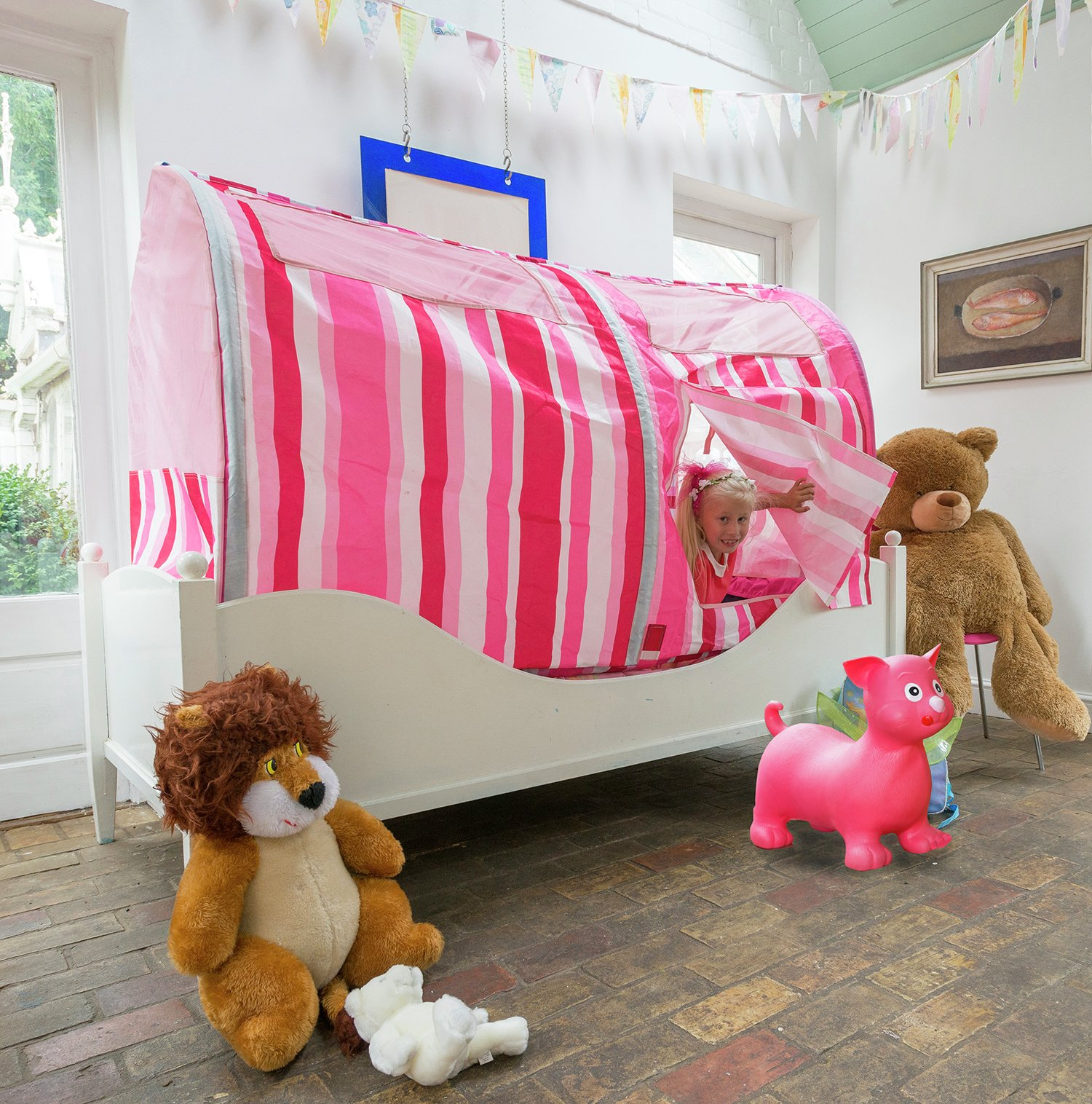 Image of Bazoongi - Pink Stripe Bed Play Tent