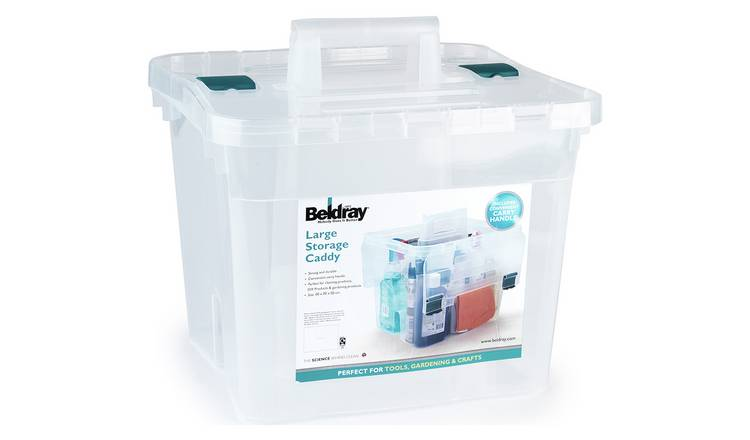 Buy Beldray Large Plastic Storage Caddy With Lid Clear Plastic