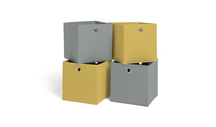 Argos Home Set of 4 Squares Plus Boxes - Soft Grey & Yellow