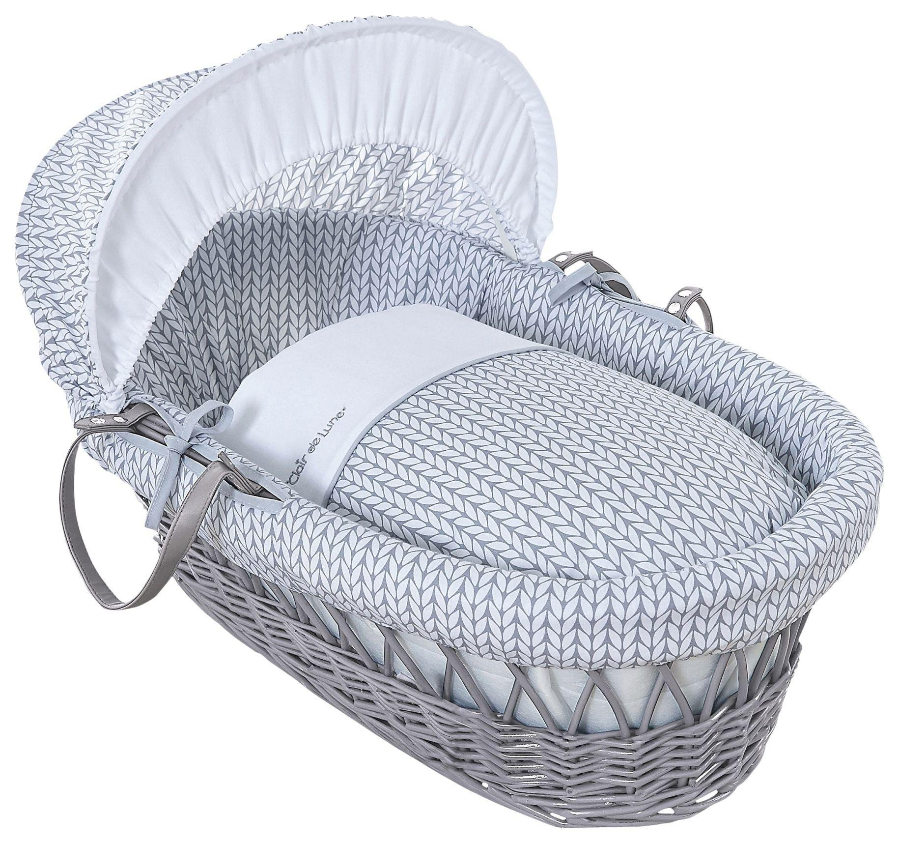 Clair De Lune Barley Bébé Grey Wicker Moses Basket - Grey.
