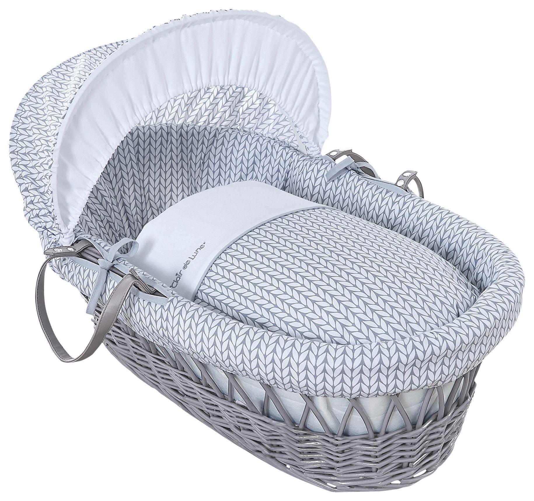 Image of Clair De Lune Barley B??b?? Grey Wicker Moses Basket - Grey.