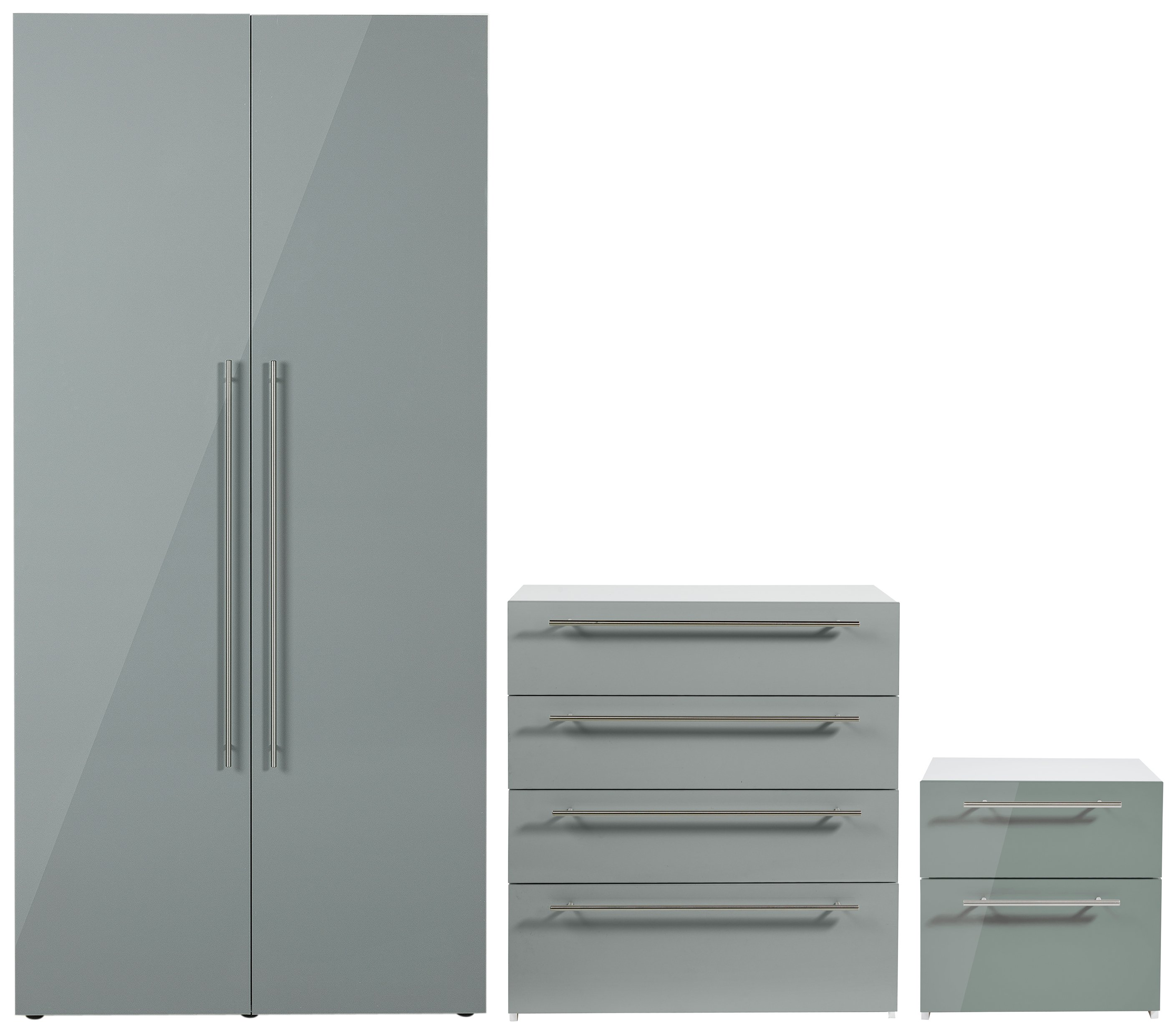 Argos Home Atlas Grey Gloss 3 Pc Bedroom Furniture Package