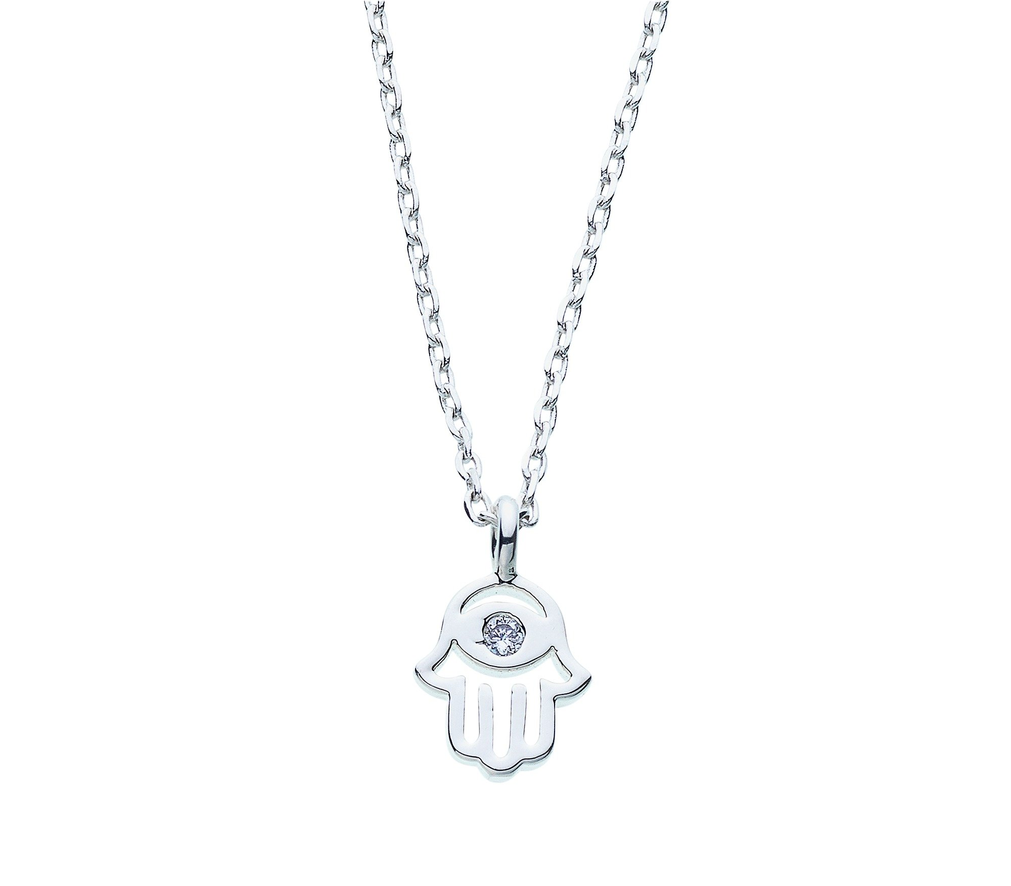 Image of Amelia Grace Silver Colour Hasma Hand Necklace