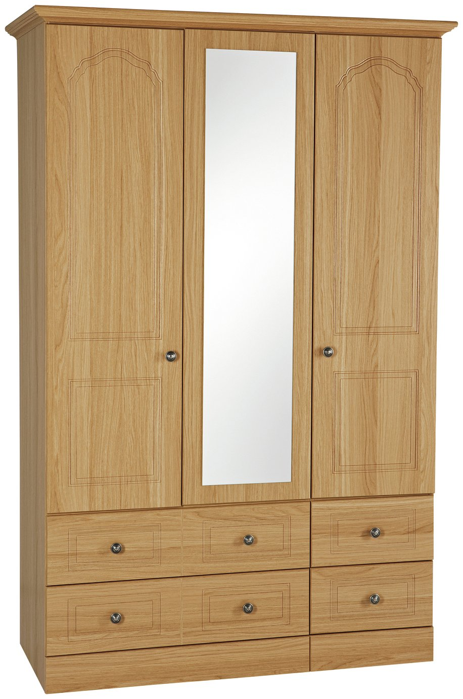 Image of Collection Stratford 3 Dr 4 Drw Mirrored Wardrobe - Oak Eff