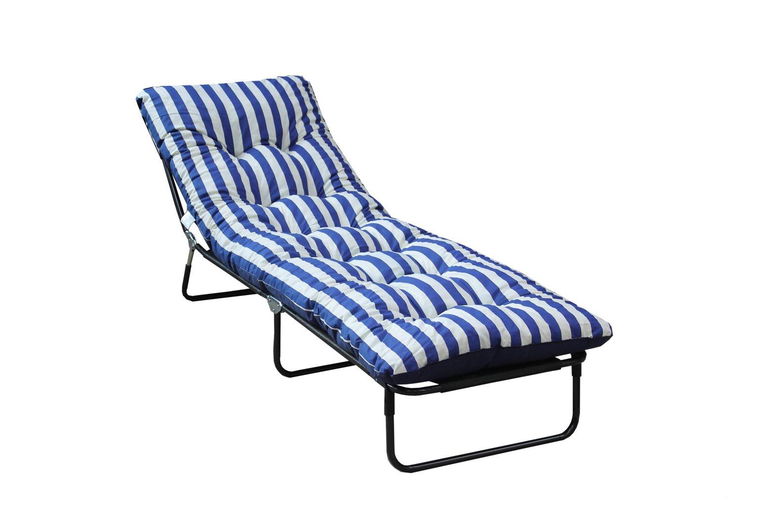Argos Home Metal Sun Lounger with Cushion - Blue