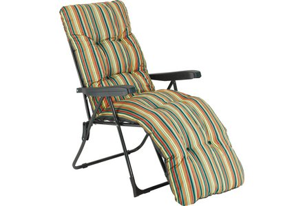 Image of the Striped Foldable Multi-Position Sun Lounger with Cushion.