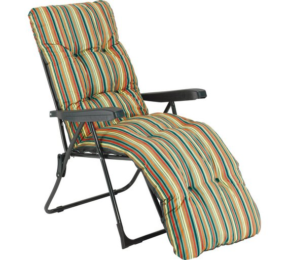 striped foldable multi position sun lounger with cushion6510154