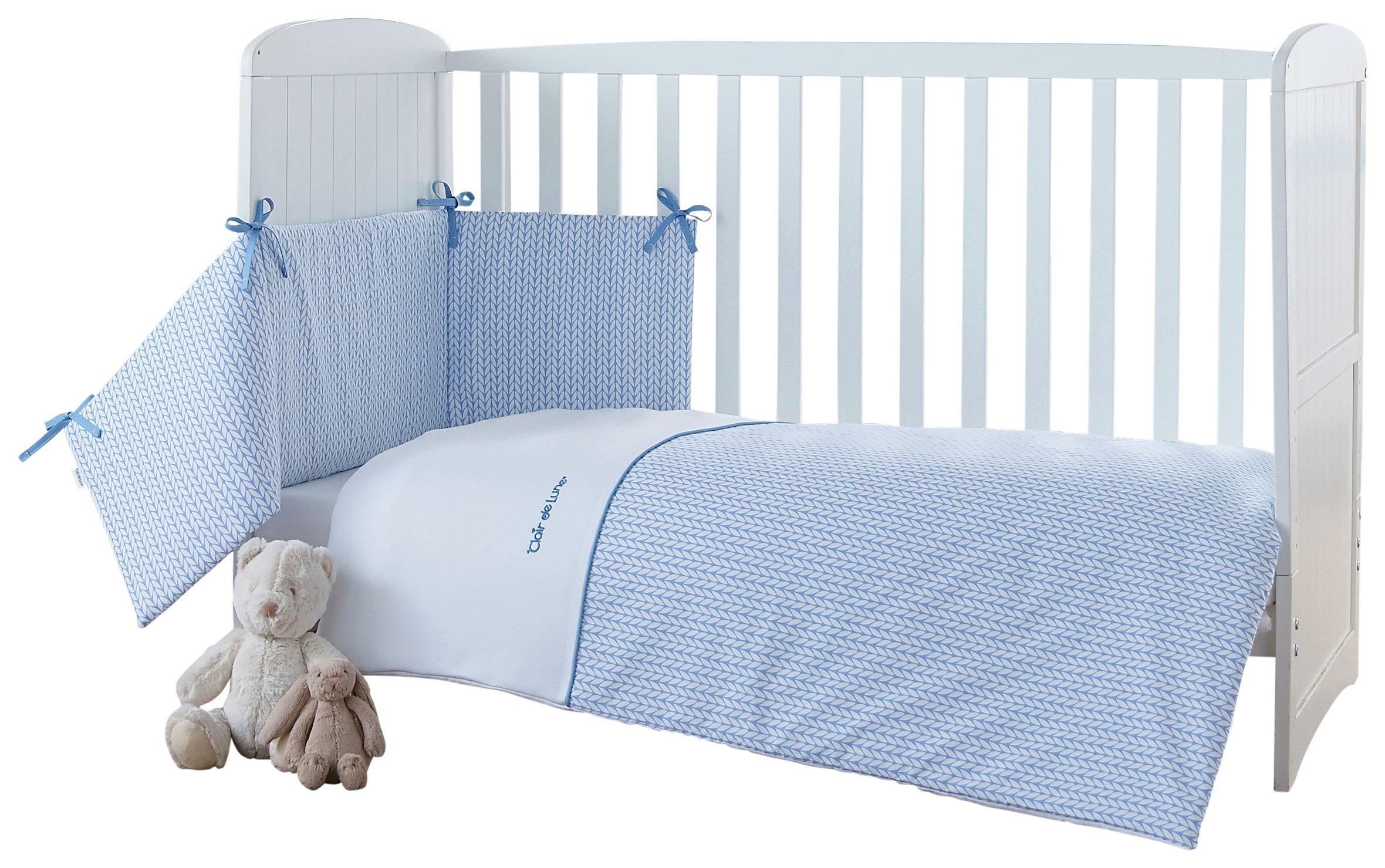 Image of Clair De Lune Barley B?b? Cot/Cot Bed Quilt & Bumper Set - Blue