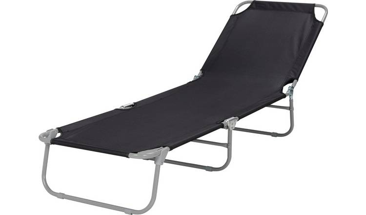 Argos Home Metal Foldable Sun Lounger - Black 0