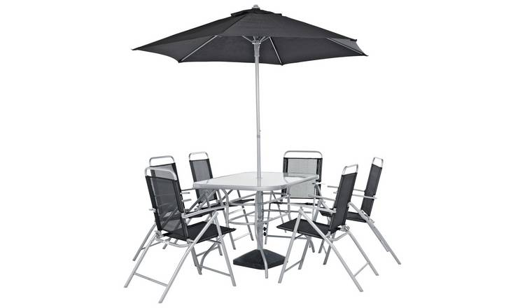 Argos Home Pacific 6 Seater Metal Patio Set - Black & Silver
