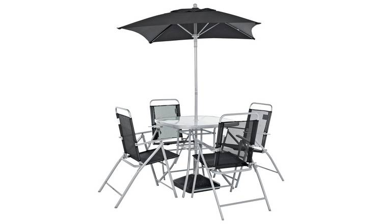 Argos Home Atlantic 4 Seater Metal Patio Set -Black & Silver