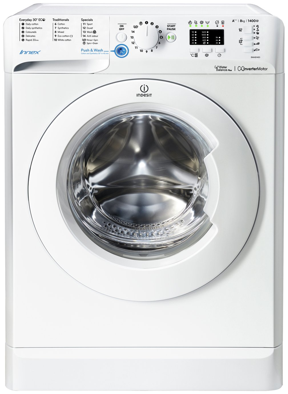 Image of Indesit - BWA81483X 8KG 1400 Spin - Washing Machine - White