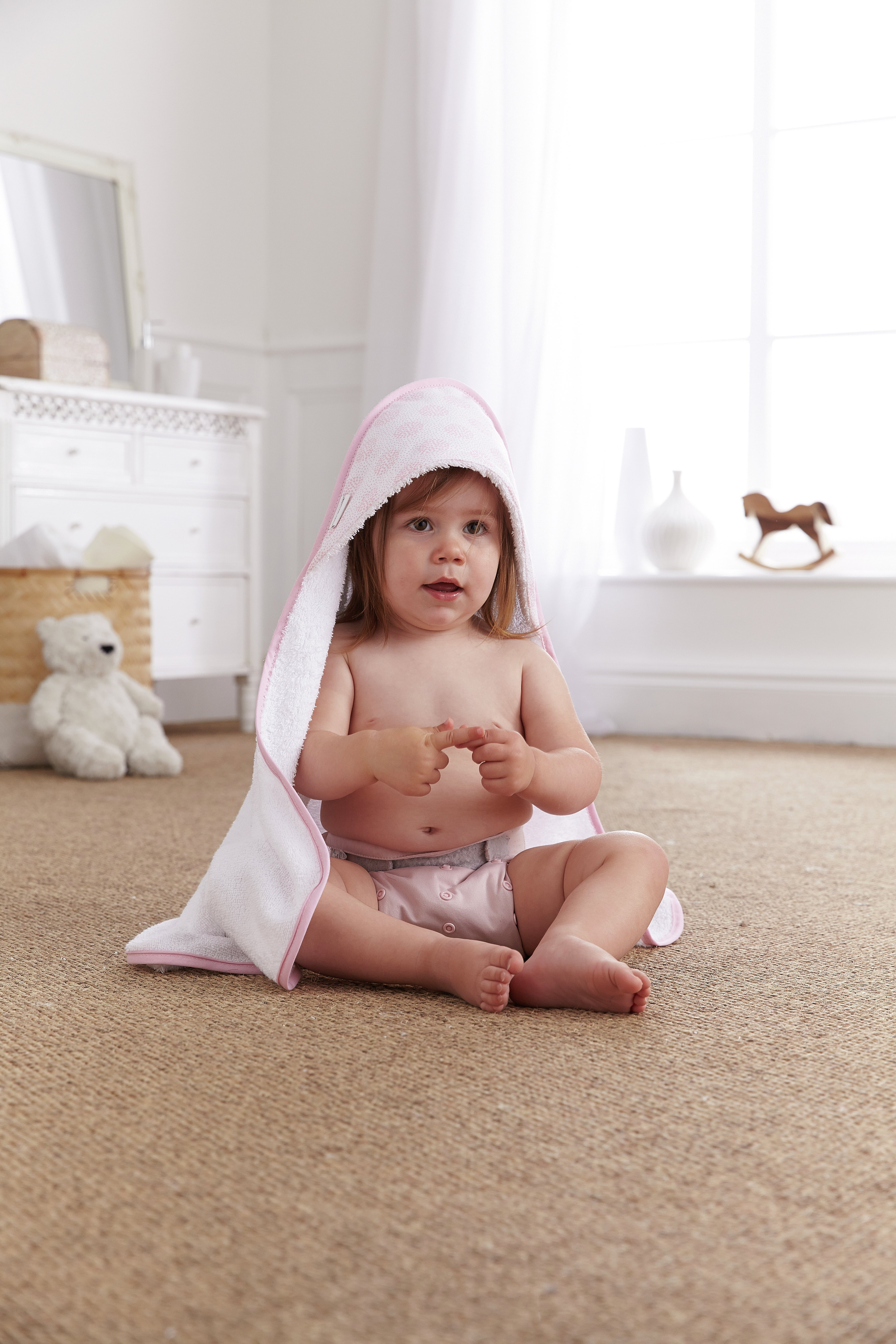 Image of Clair De Lune - Speckles Hooded Baby Towel - Pink