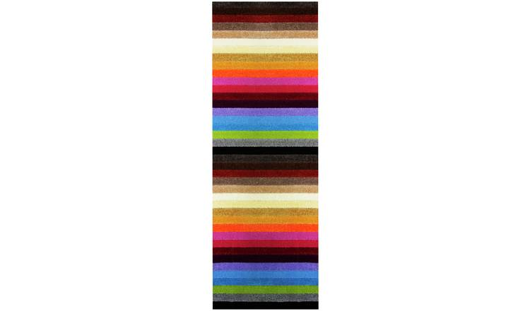 Linea Stripe Washable Runner - 200 x 66cm - Rainbow.