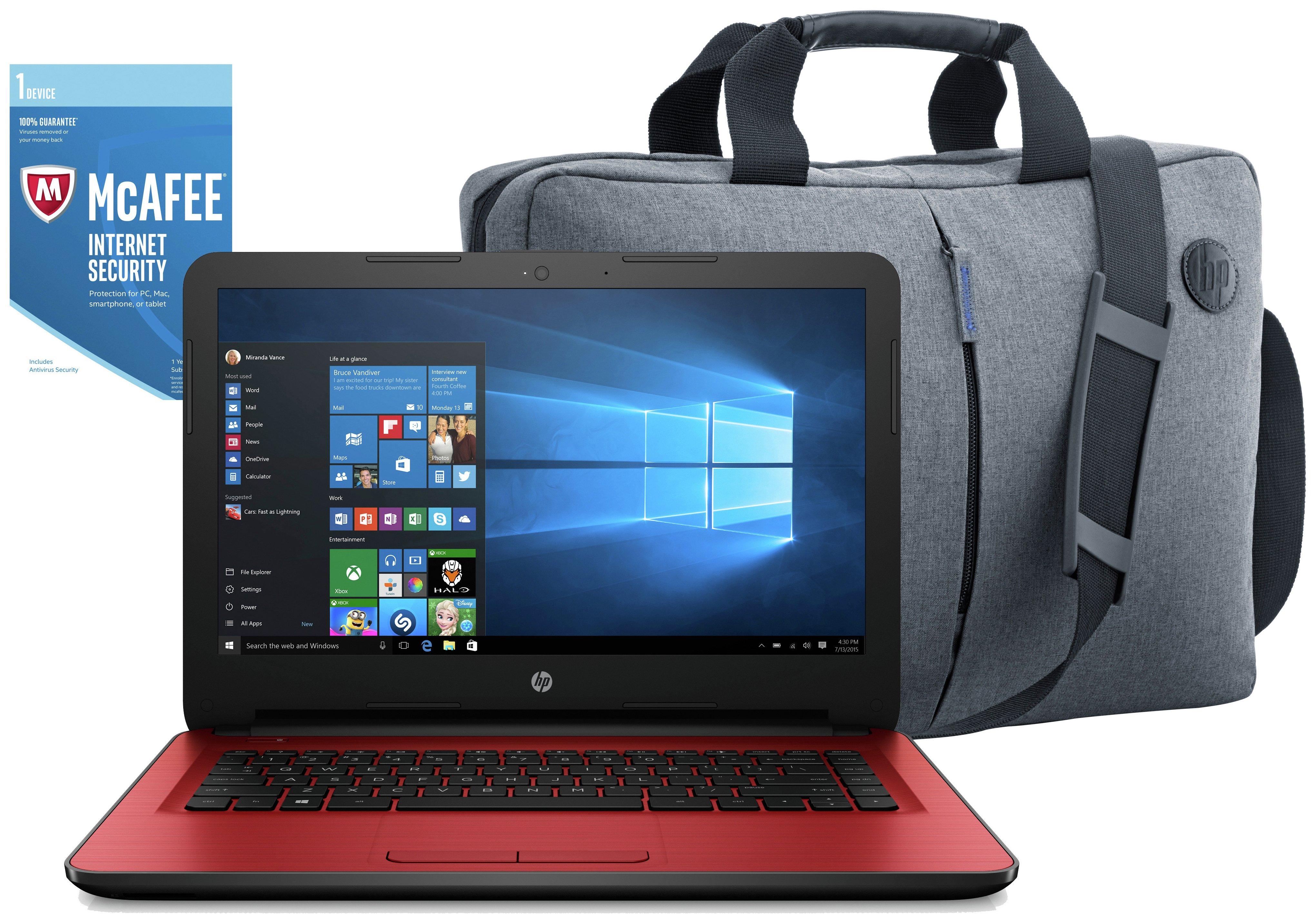 HP 14 Inch Intel Pentium 8GB 2TB Laptop Red - Bag & McAfee