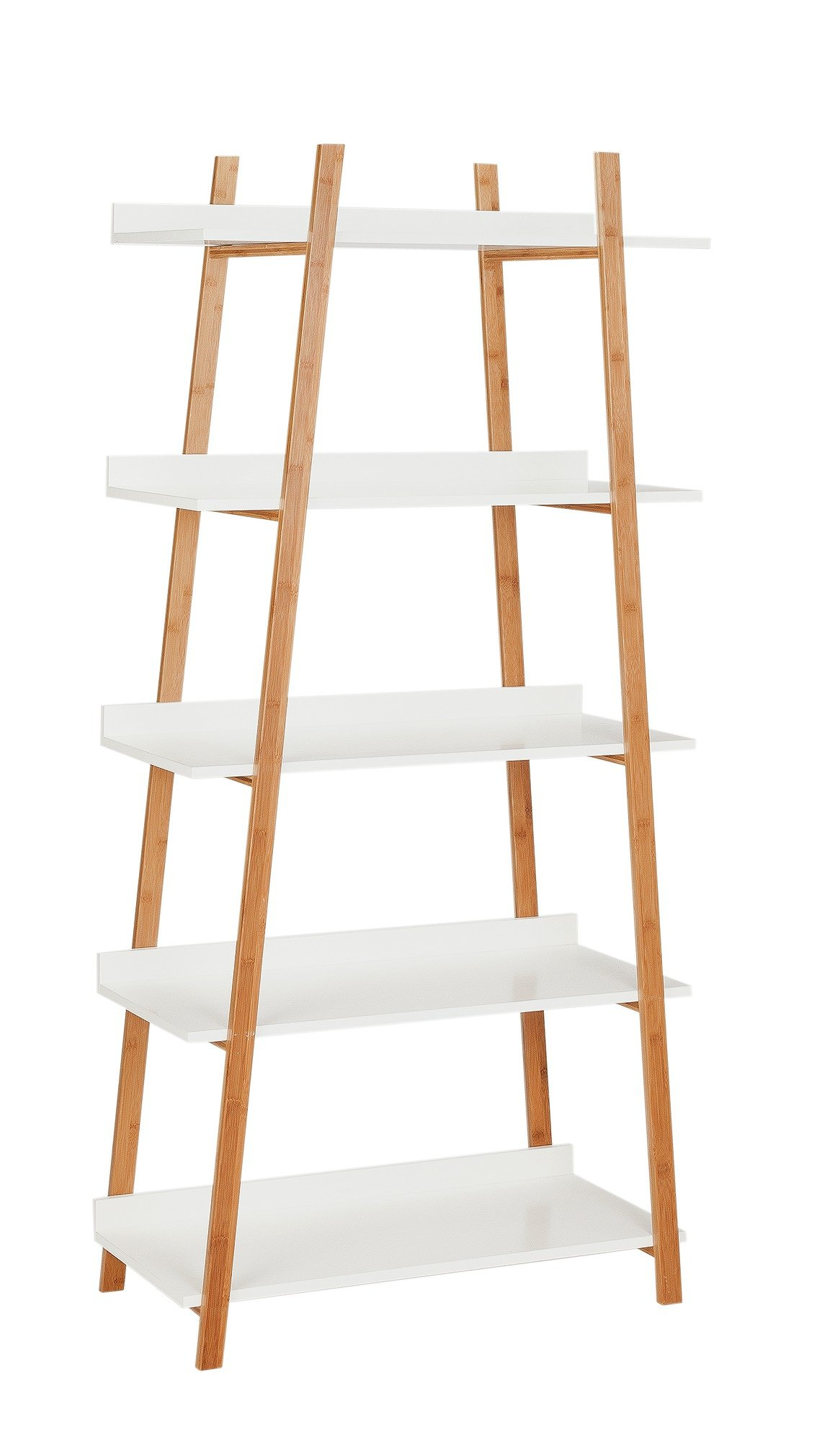 Hygena Skanda 5 Tier Bamboo Shelving Unit - White