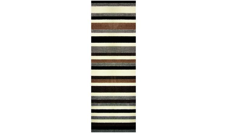 Linea Stripe Washable Runner - 200 x 66cm - Natural.