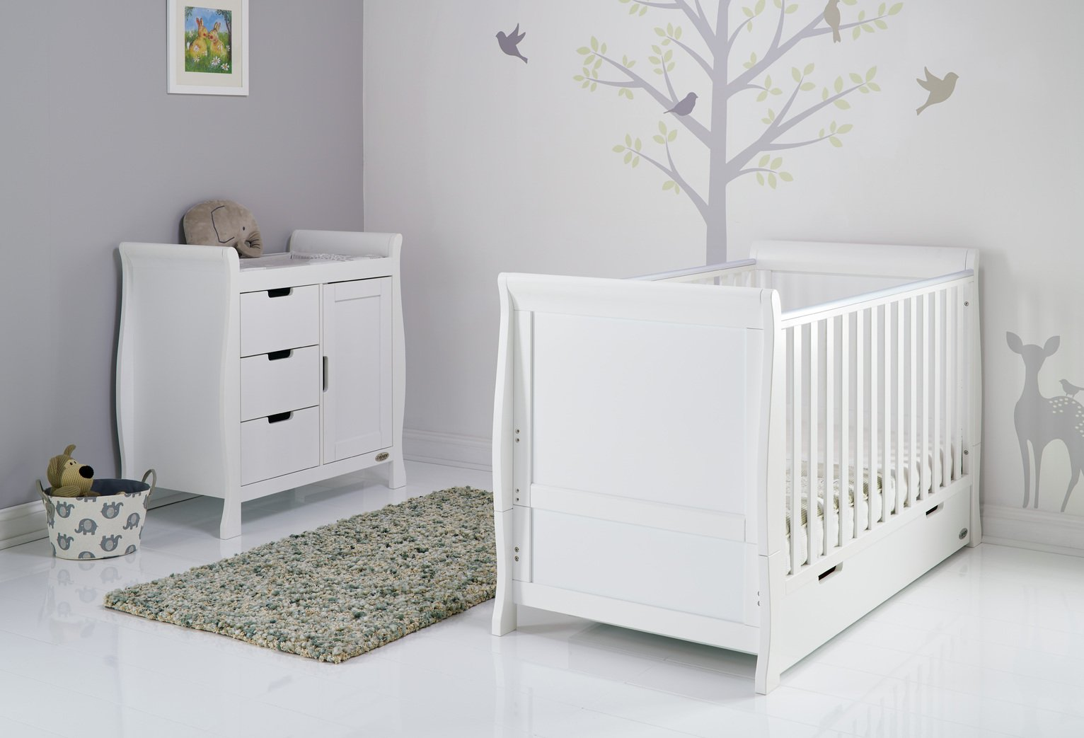 Image of Obaby Stamford Sleigh 2 Piece Room Set - White