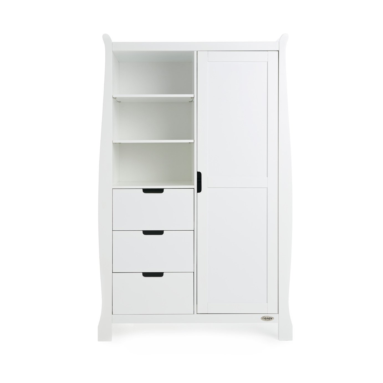 Obaby Stamford Sleigh Double Wardrobe - White