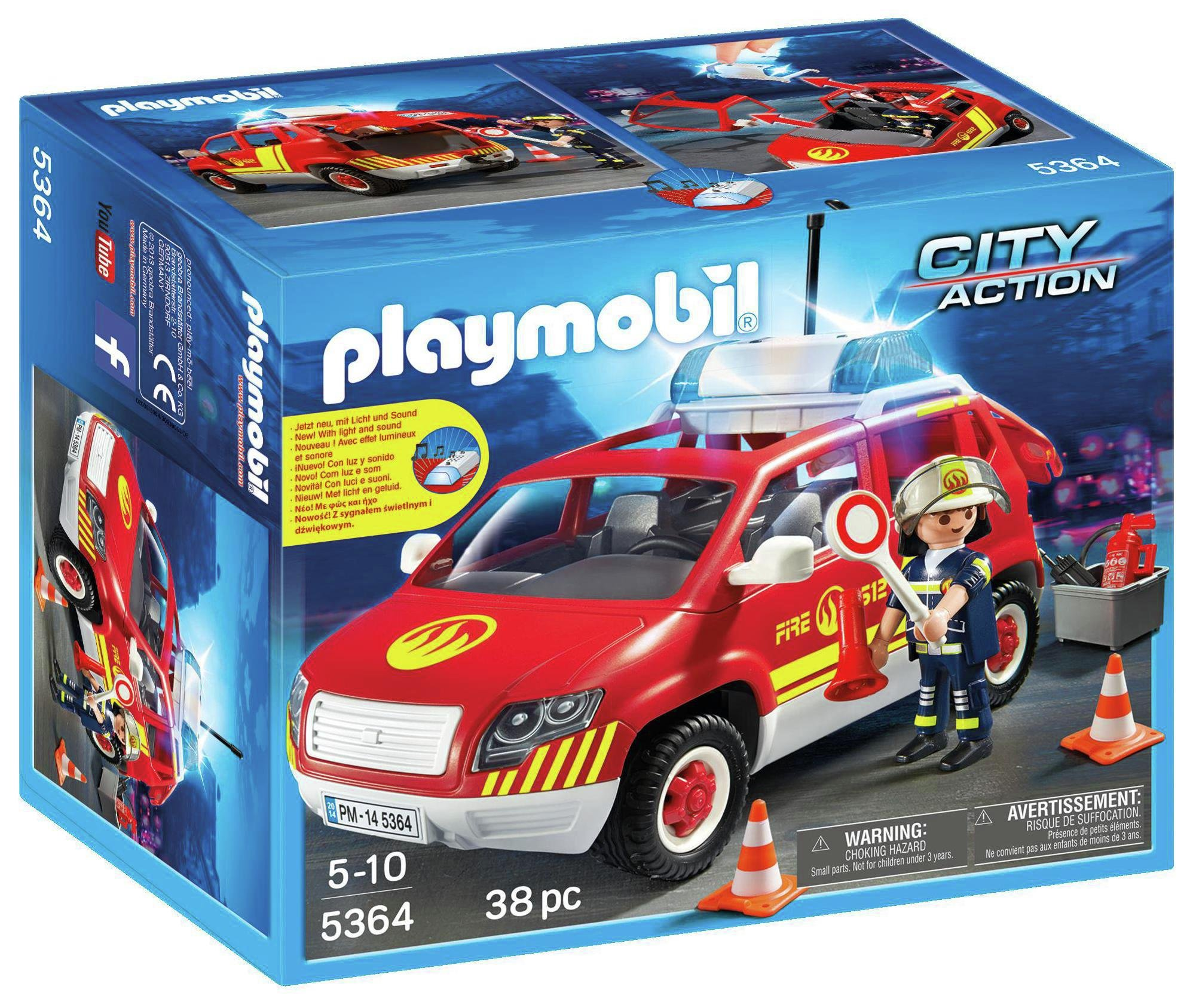Playmobil   5364 Fire Chief S Car With Lights And Sounds.