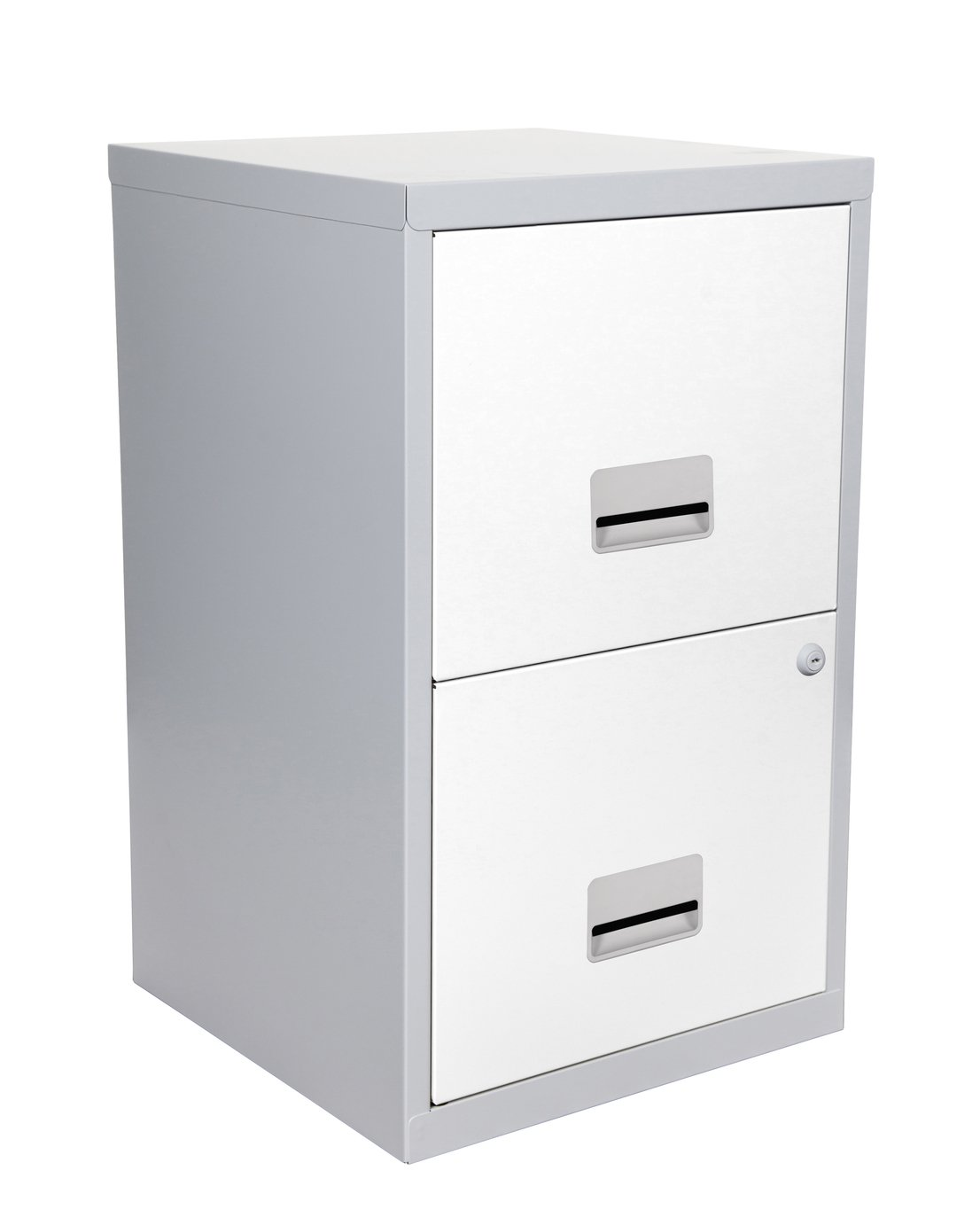 2 Drawer Metal Filing Cabinet - Silver and White