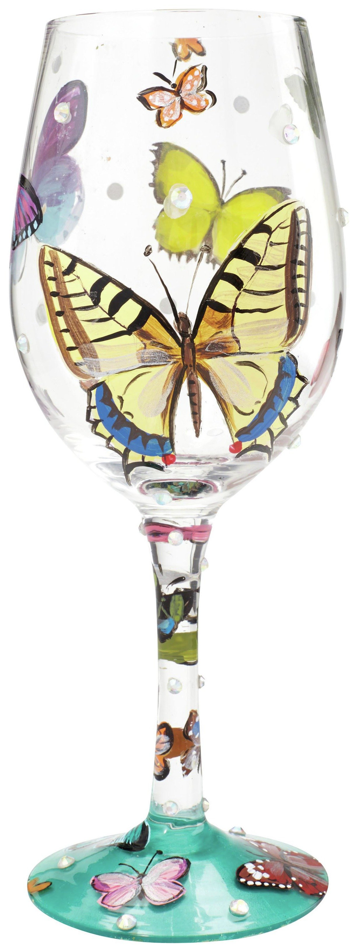 Image of Lolita Butterfly Wishes Wine Glass.