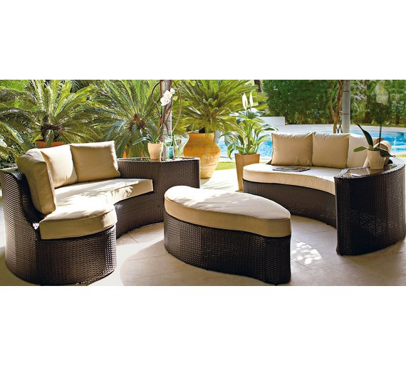 collection rattan effect 6 seater patio sofa set 2 sofas at - Rattan Garden Furniture 6 Seater