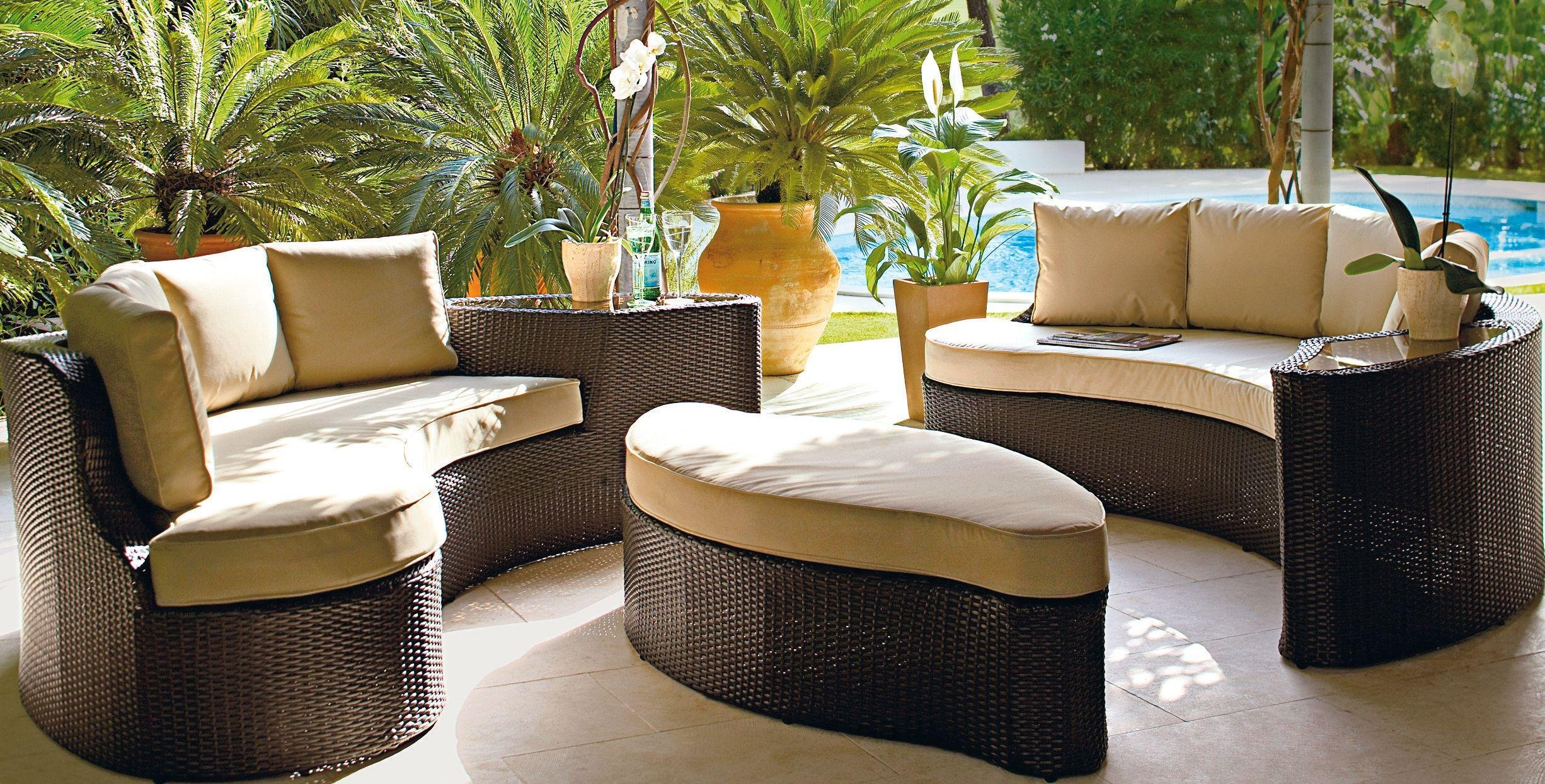 Garden Furniture Sofa Sets buy collection rattan effect 6 seater patio sofa set 2 sofas at