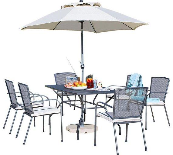 collection miami 6 seater mesh patio furniture set