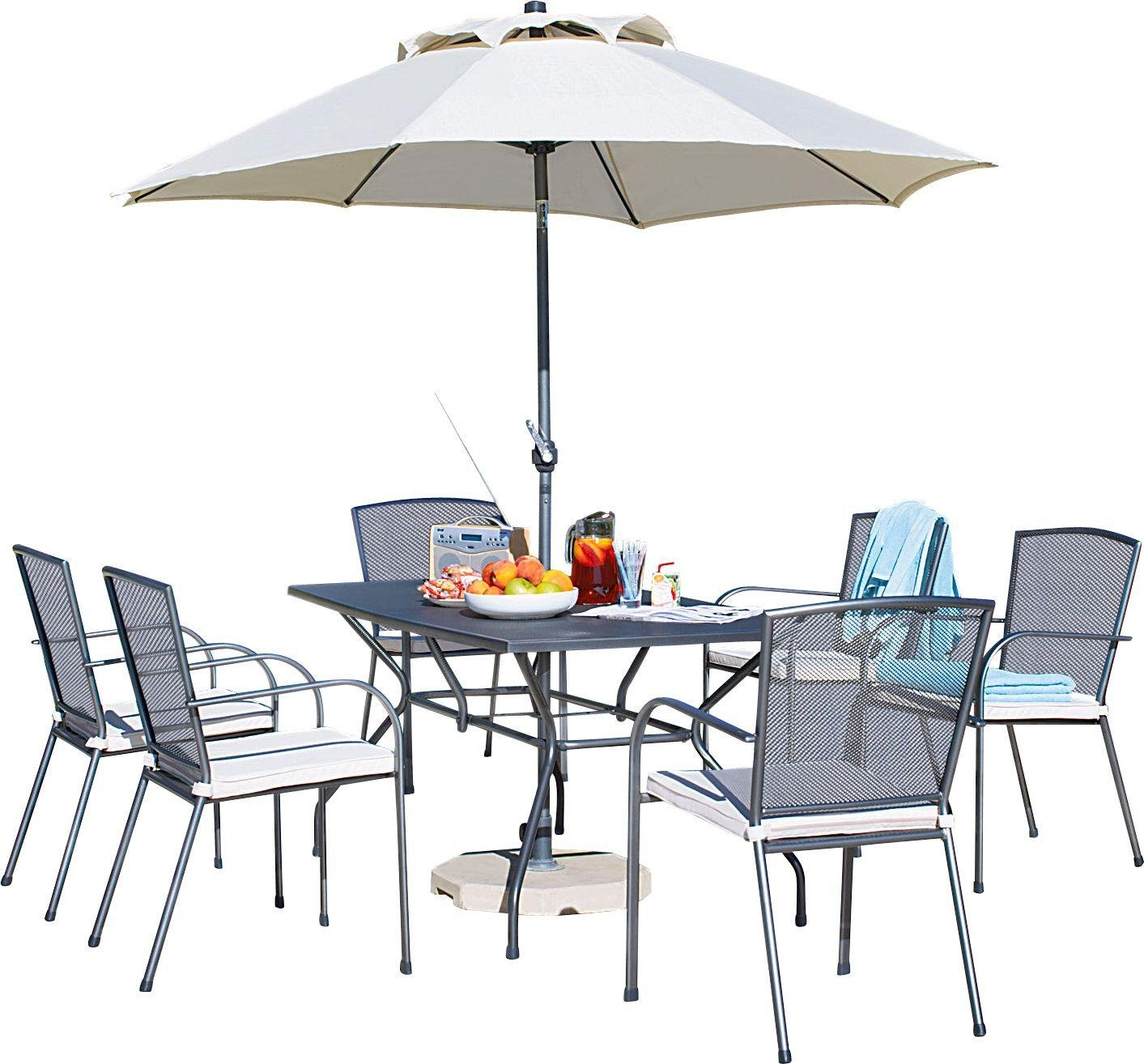 Collection Miami 6 Seater Mesh Patio Furniture Set