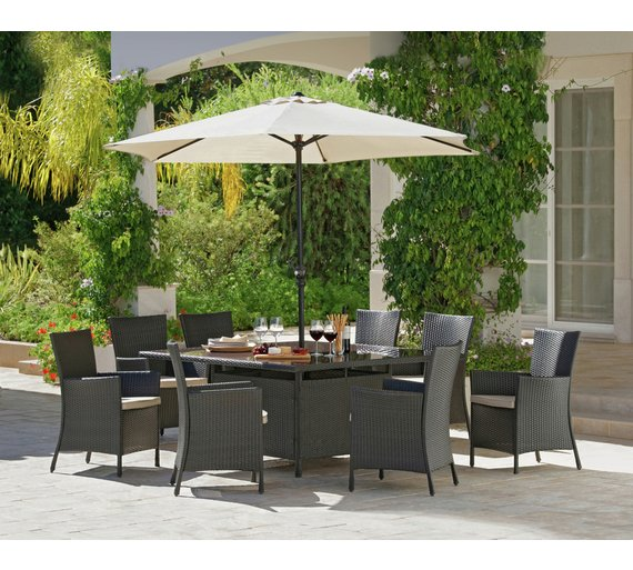bali rattan effect 8 seater patio furniture set brown6524638