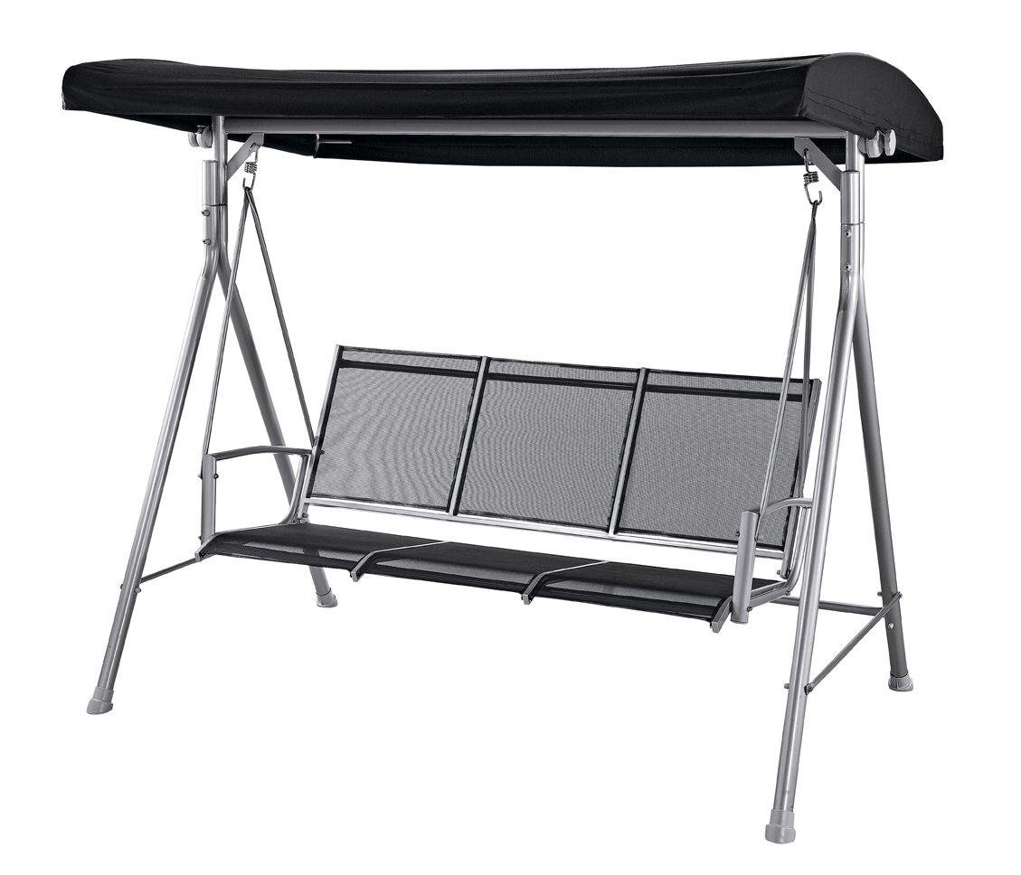 Malibu 3 Seater Garden Swing Chair - Black