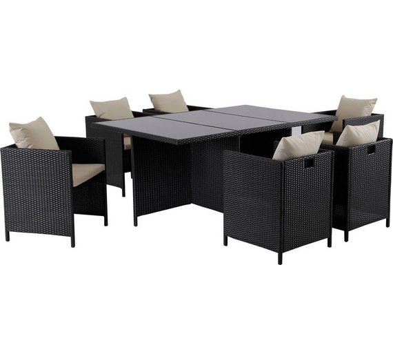 hand woven rattan effect cube 6 seater patio set black6524975 - Rattan Garden Furniture 6 Seater