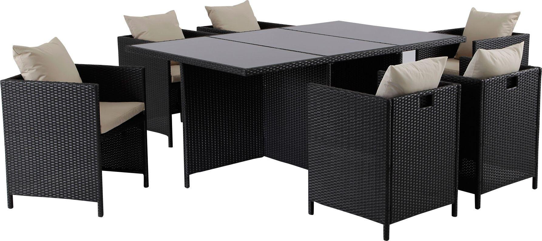 Garden Furniture 6 Chairs buy hand-woven rattan effect cube 6 seater patio set - black at