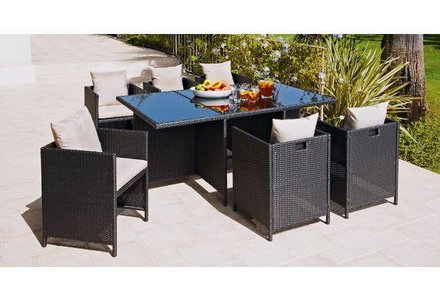 Image of the Hand-Woven Rattan Effect Cube 6 Seater Patio Set in Black.