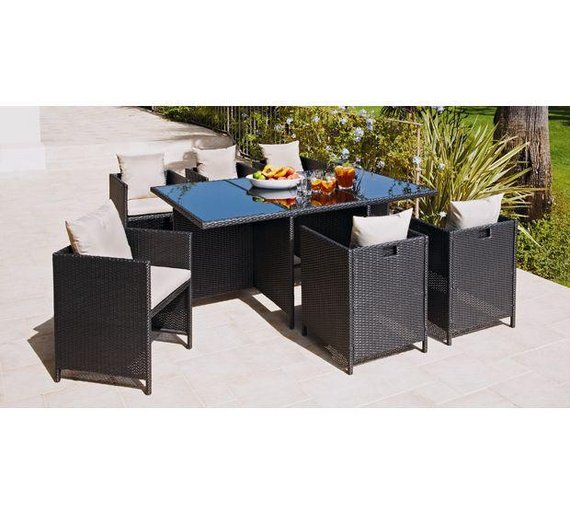 Click to zoom. Buy Hand Woven Rattan Effect Cube 6 Seater Patio Set   Black at