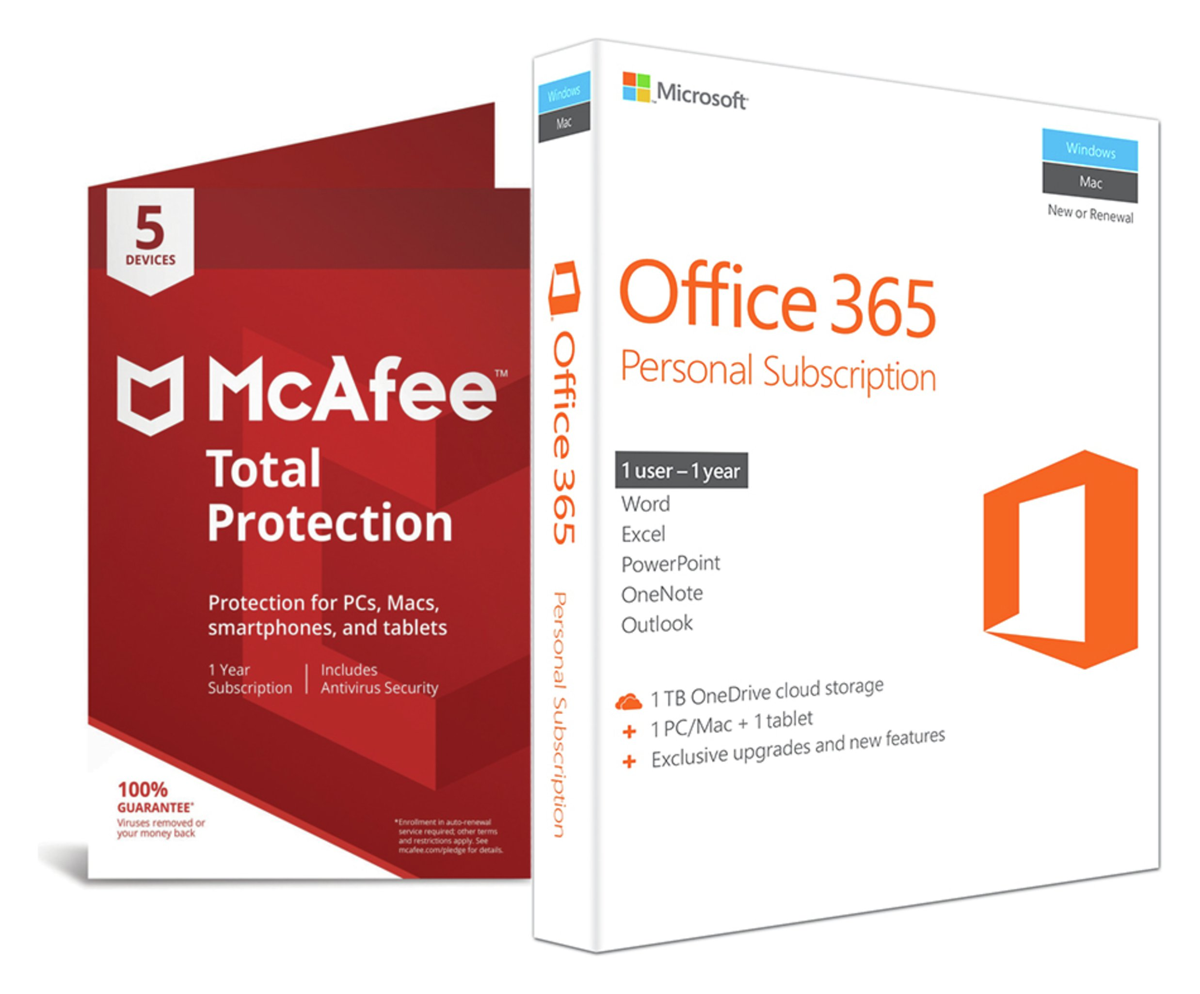Microsoft - Office 365 Personal and McAfee - TP - 5 Devices
