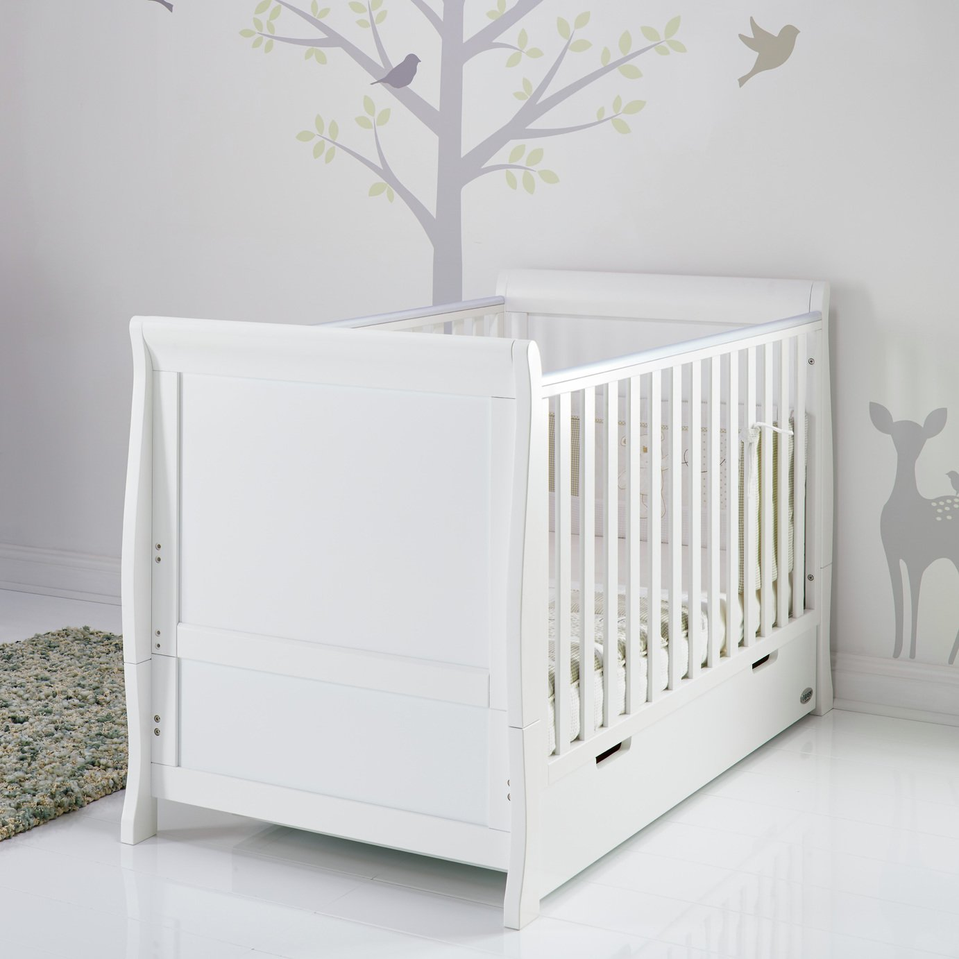 Image of Obaby Stamford Sleigh Cot Bed - White