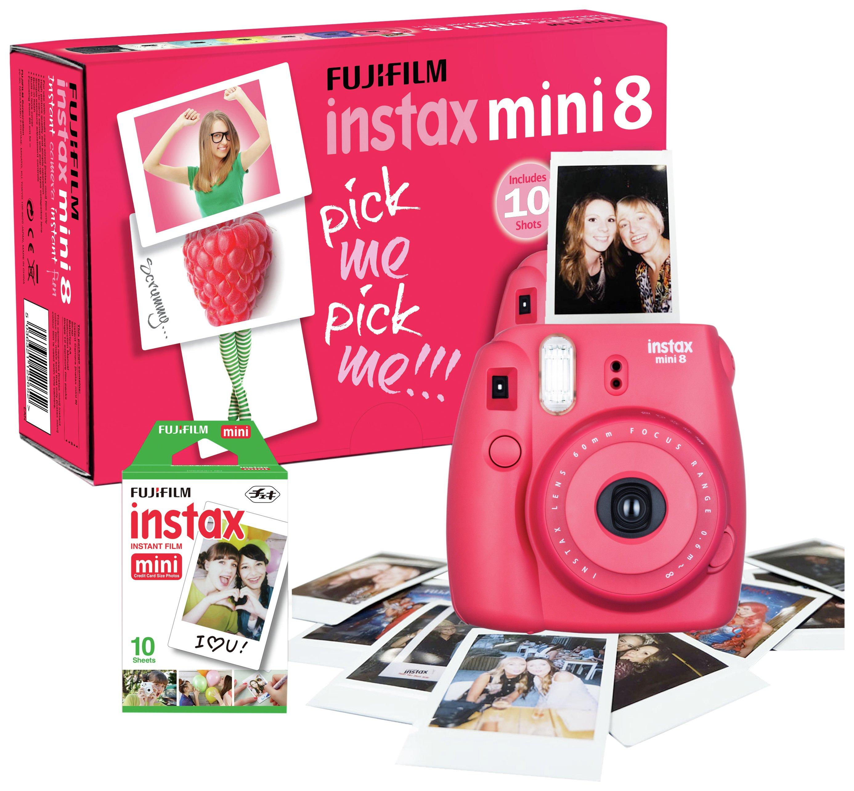 Fujifilm Instax Mini 8 Camera with 10 Shots - Raspberry.