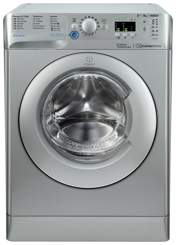 Indesit BWA81483X 8KG 1400 Spin Washing Machine - Silver.