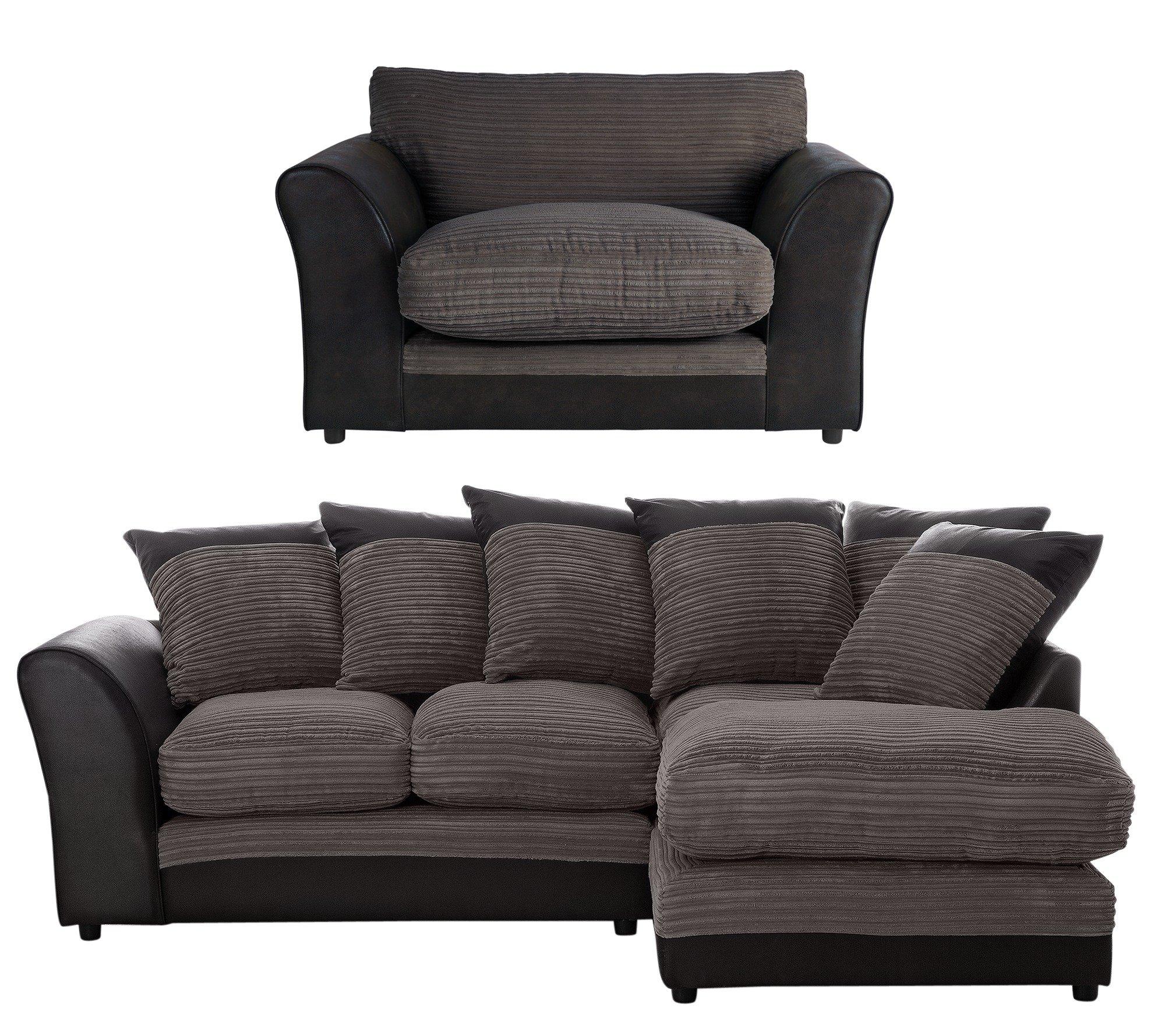 Argos Home Harley Reg RH Corner Charcoal Sofa & Cuddle Chair