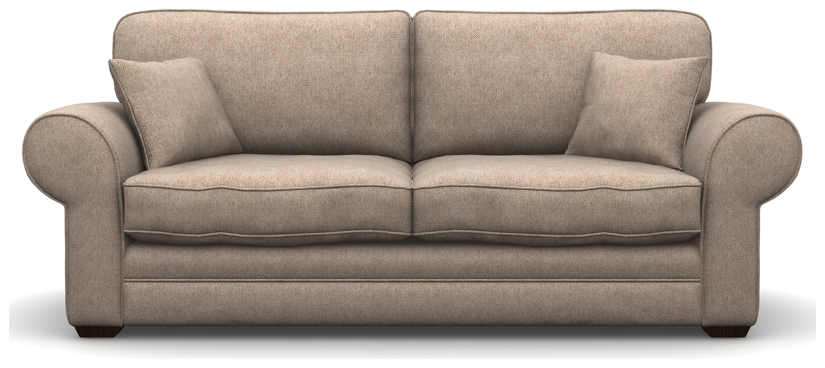 Heart of House Chedworth 3 Seater Fabric Sofa With Wooden Feet - Beige.