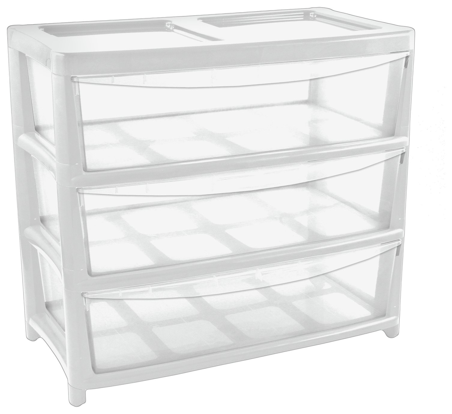 'Home 3 Drawer Gloss Plastic Wide Tower Storage Unit - White