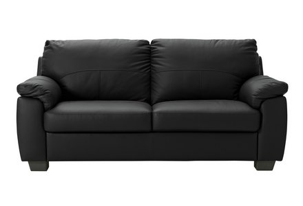 HOME New Logan 2 Seater Leather/Leather Effect Sofa - Black