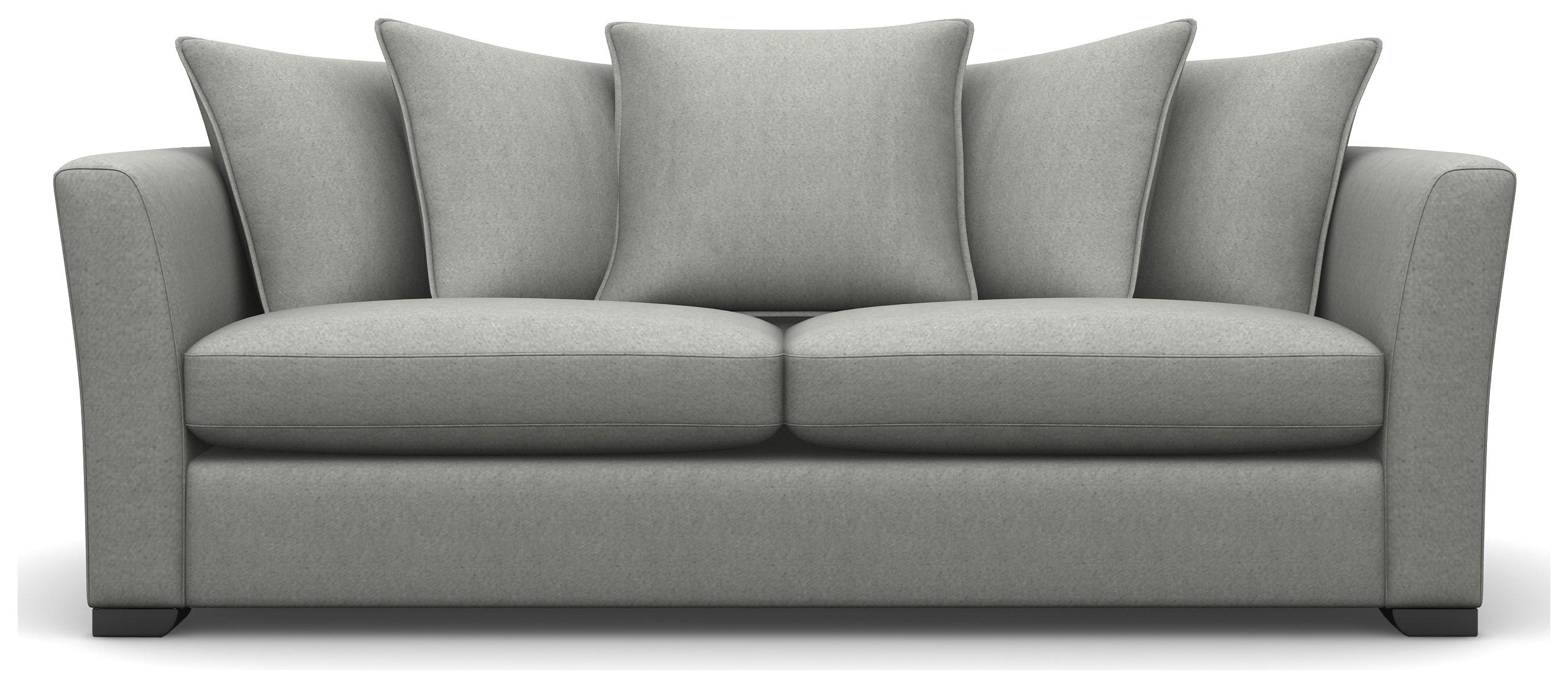Heart of House Libby 3 Seater Fabric Sofa - Light Grey + Black Legs