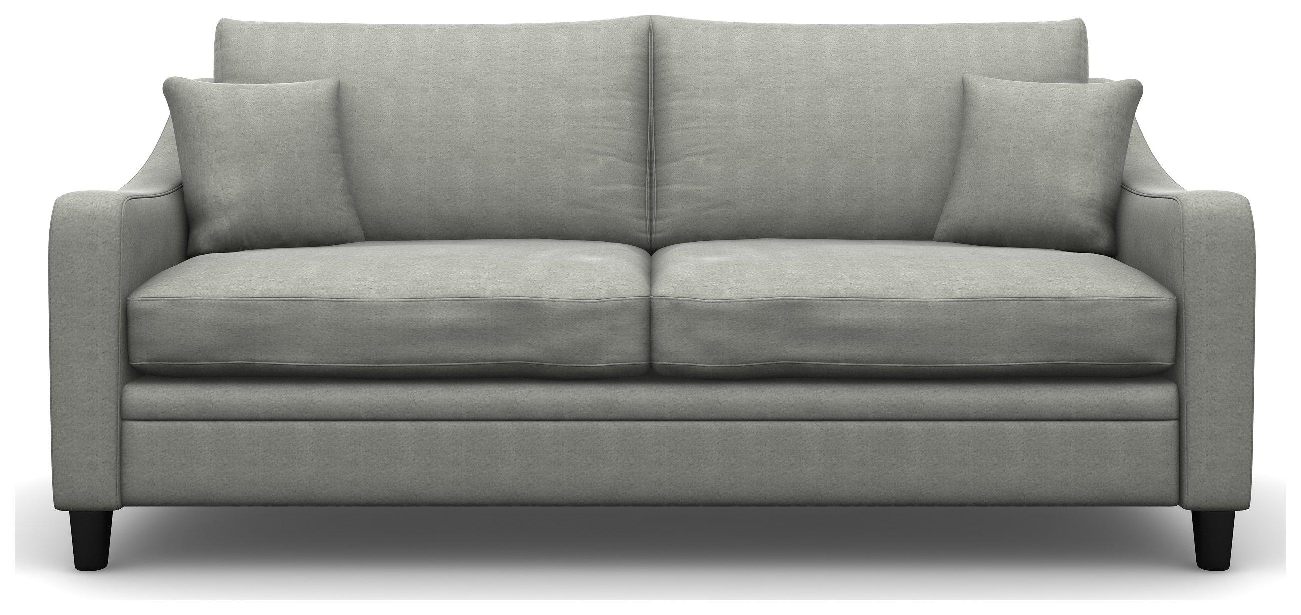 Heart of House Newbury 3 Seater Fabric Sofa - Light Grey + Black Legs