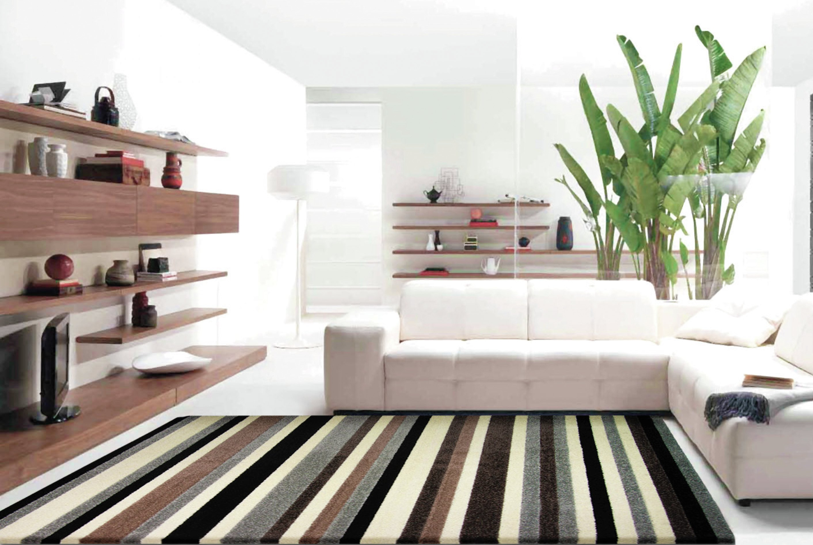 Image of Linea Stripe Washable Rug - 200 x 140cm - Natural.